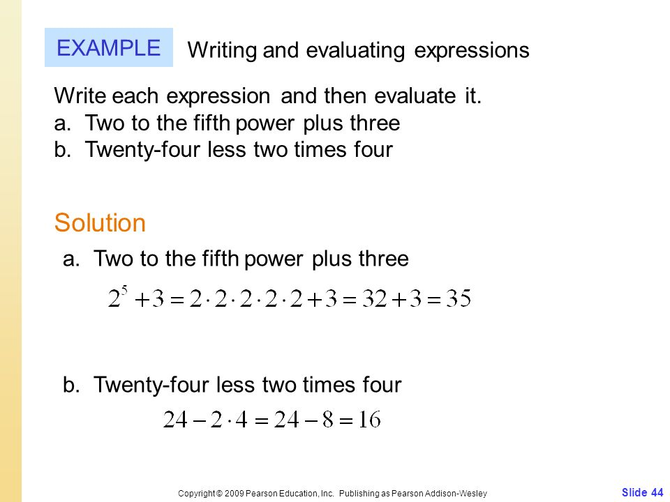 Solution EXAMPLE Writing and evaluating expressions