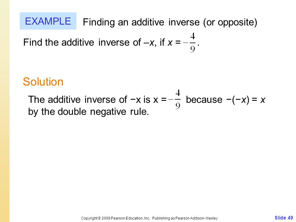 Solution EXAMPLE Finding an additive inverse (or opposite)