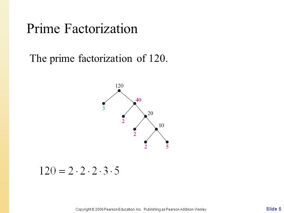 Prime Factorization The prime factorization of 120.
