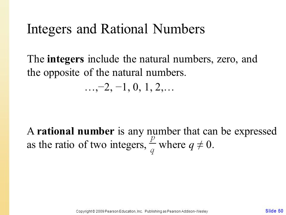 Integers and Rational Numbers