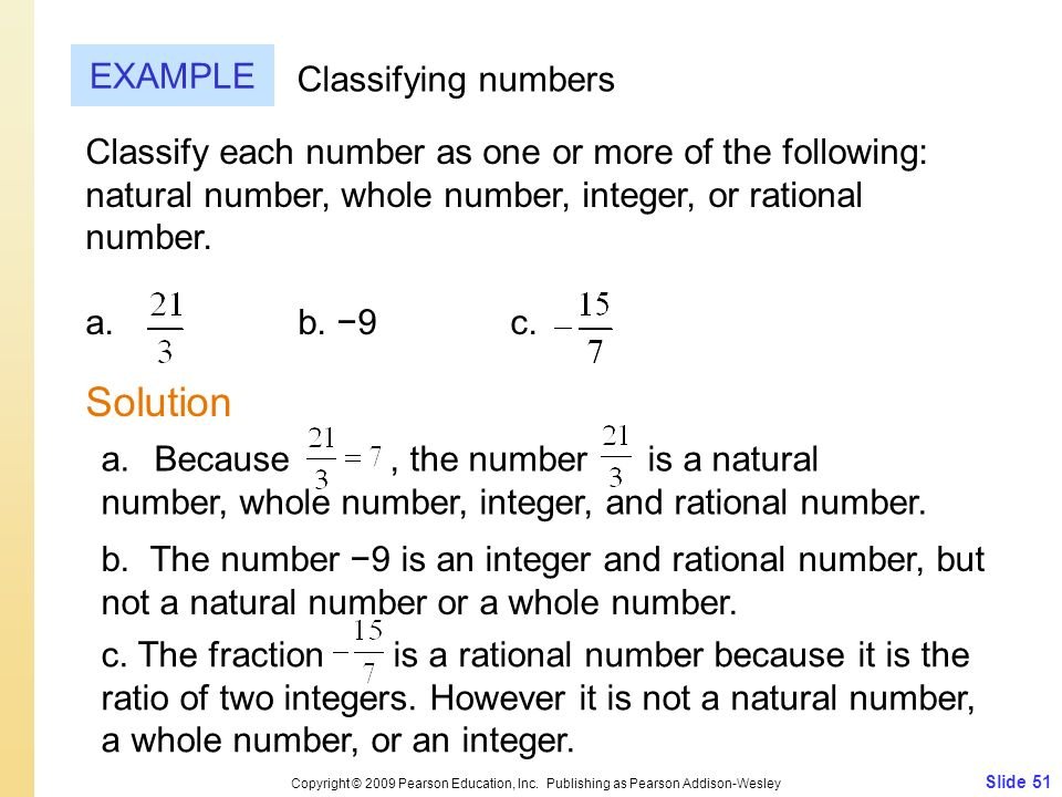 Solution EXAMPLE Classifying numbers
