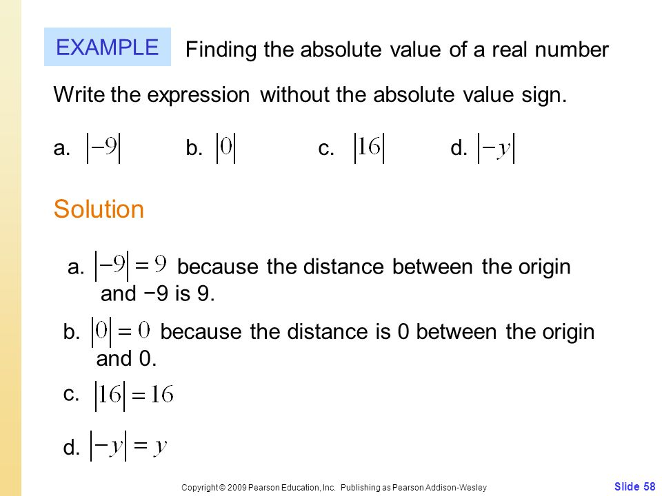 Solution EXAMPLE Finding the absolute value of a real number