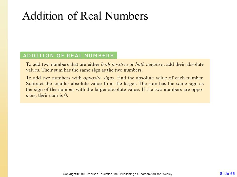 Addition of Real Numbers