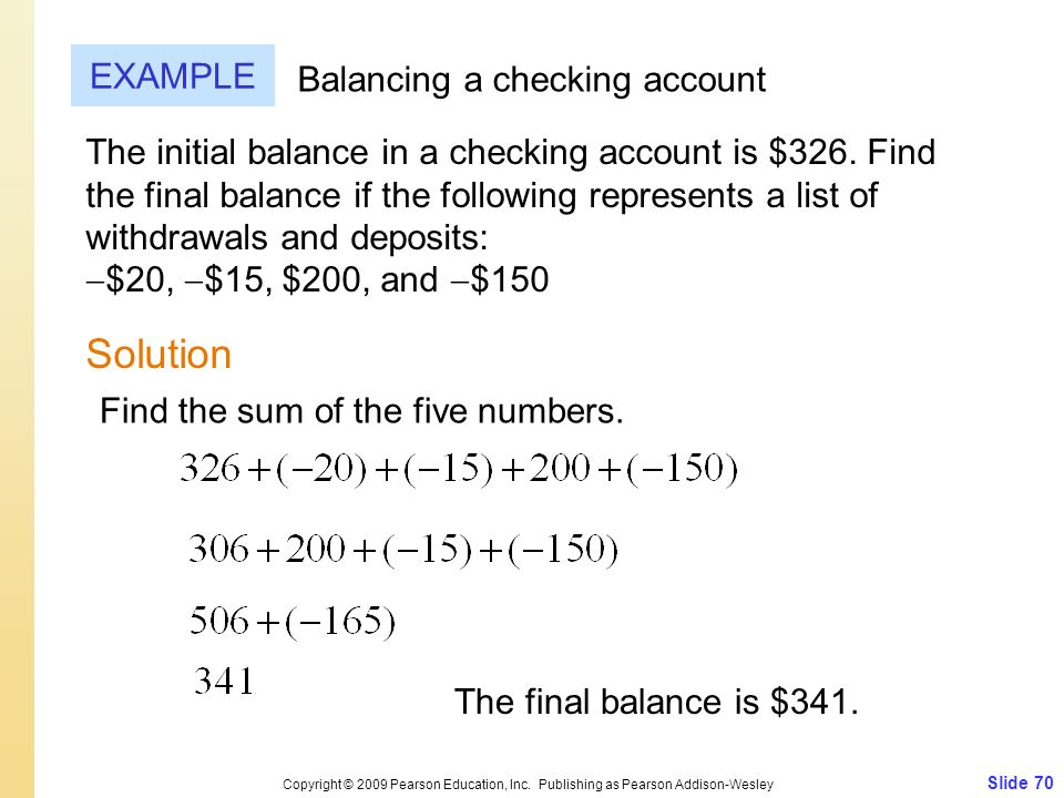 Solution EXAMPLE Balancing a checking account