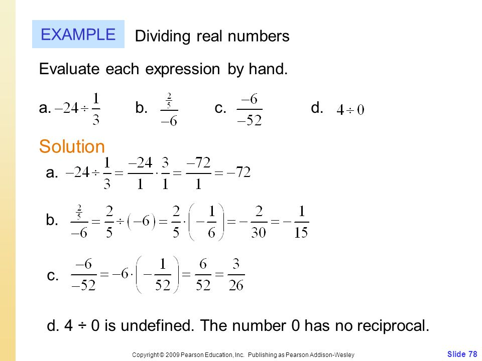 Solution EXAMPLE Dividing real numbers