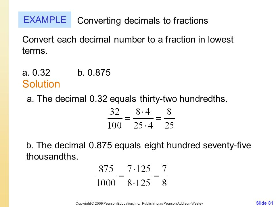 Solution EXAMPLE Converting decimals to fractions