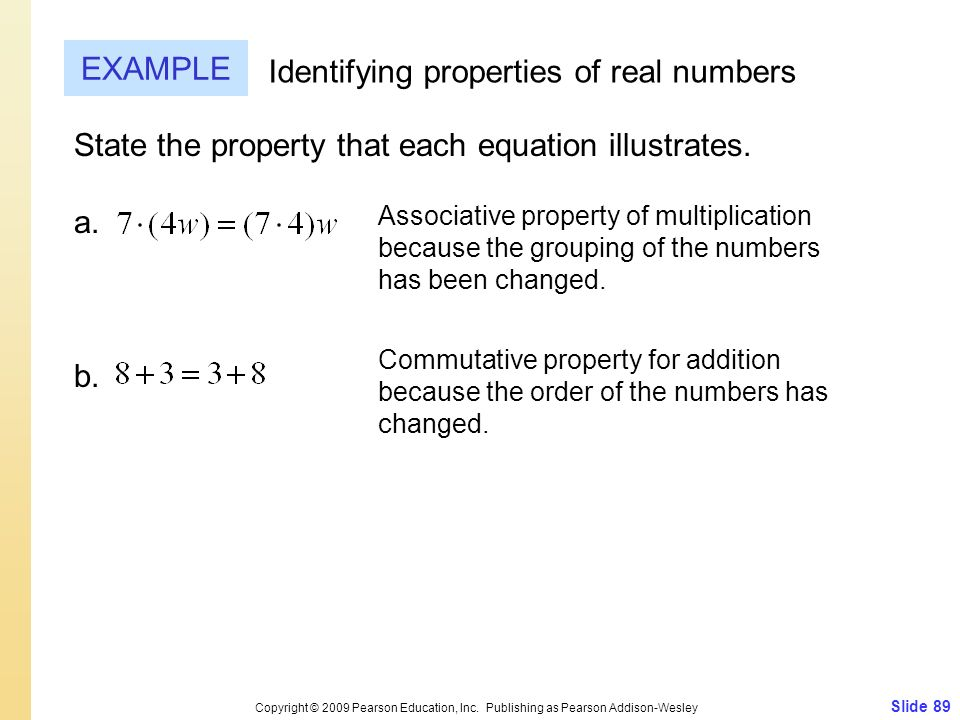 Identifying properties of real numbers