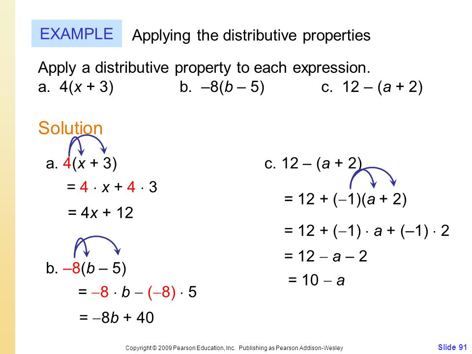 Solution EXAMPLE Applying the distributive properties