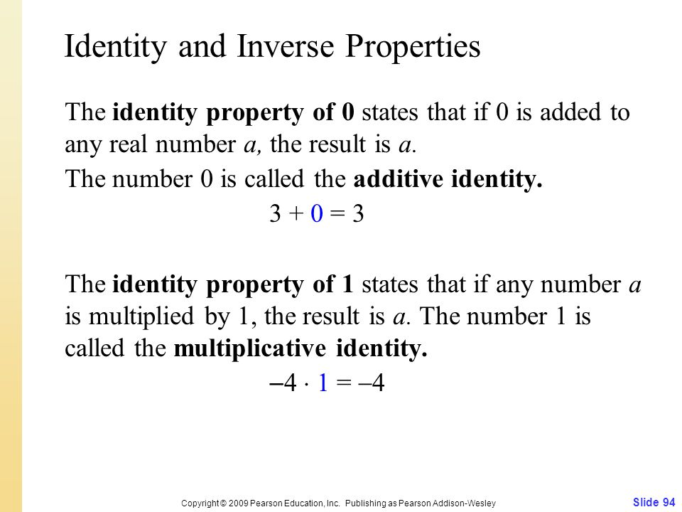 Identity and Inverse Properties