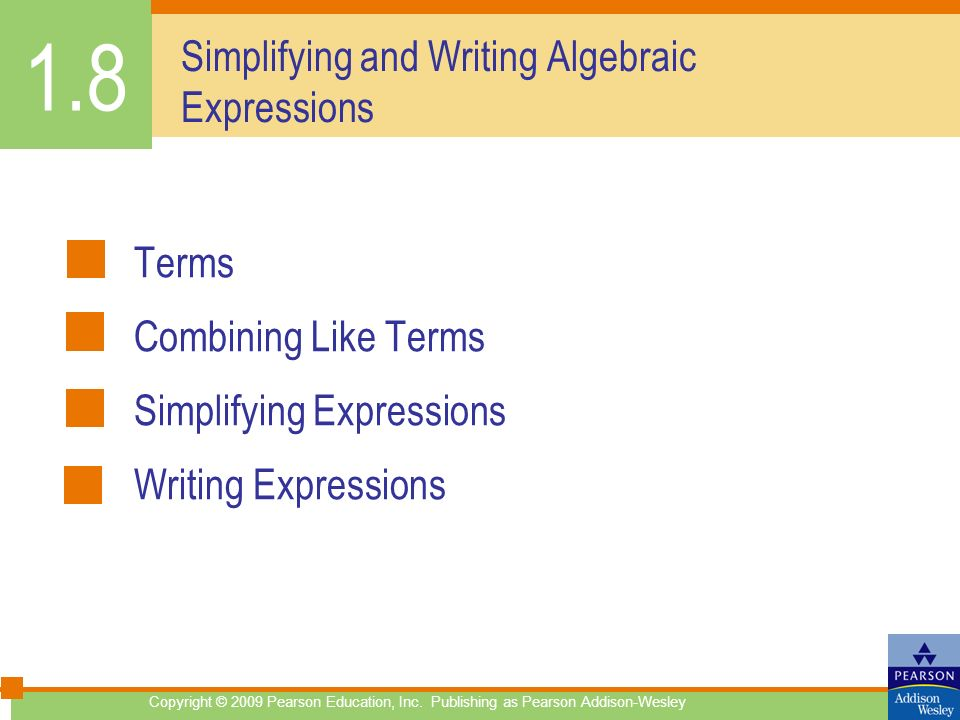 Simplifying and Writing Algebraic Expressions