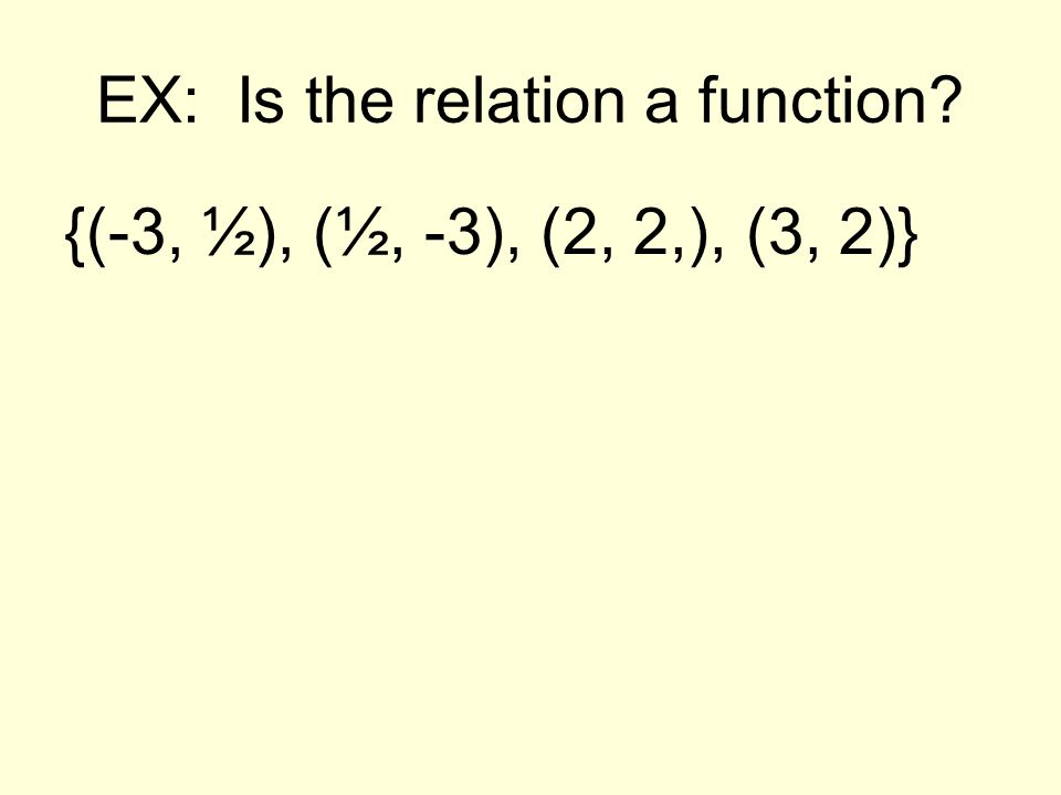 EX: Is the relation a function