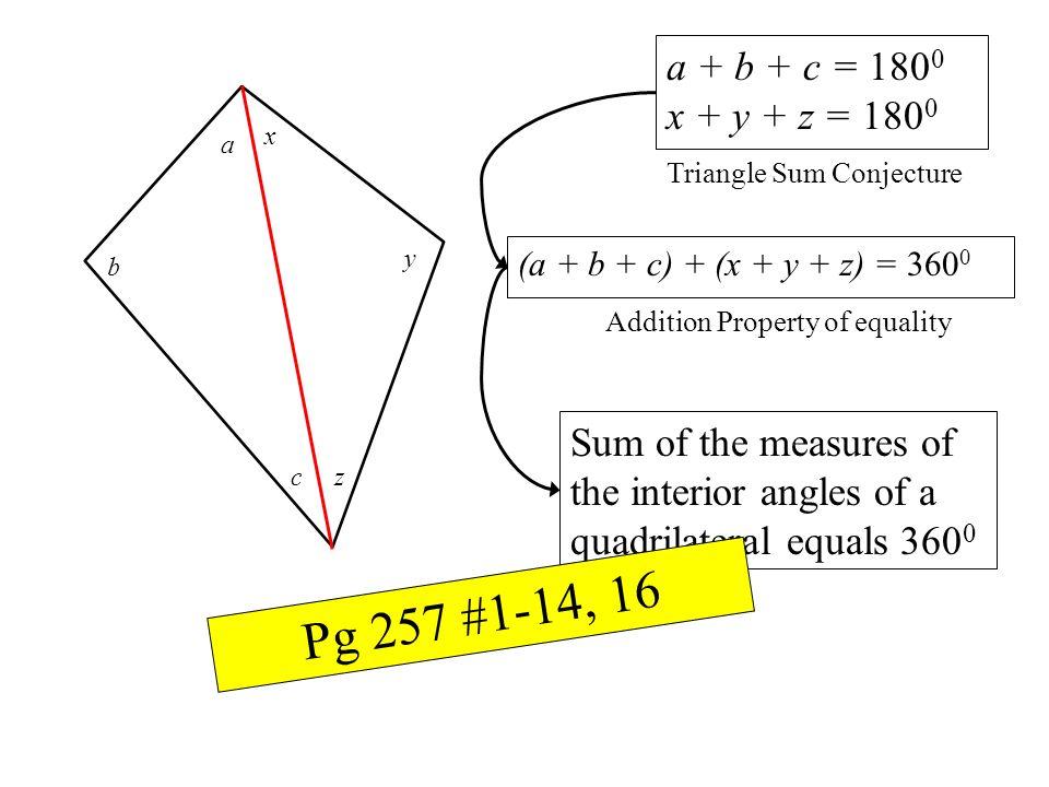a + b + c = 1800 x + y + z = 1800. x. a. Triangle Sum Conjecture. y. (a + b + c) + (x + y + z) = 3600.
