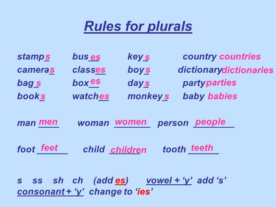Rules for plurals stamp_ bus__ key_ country
