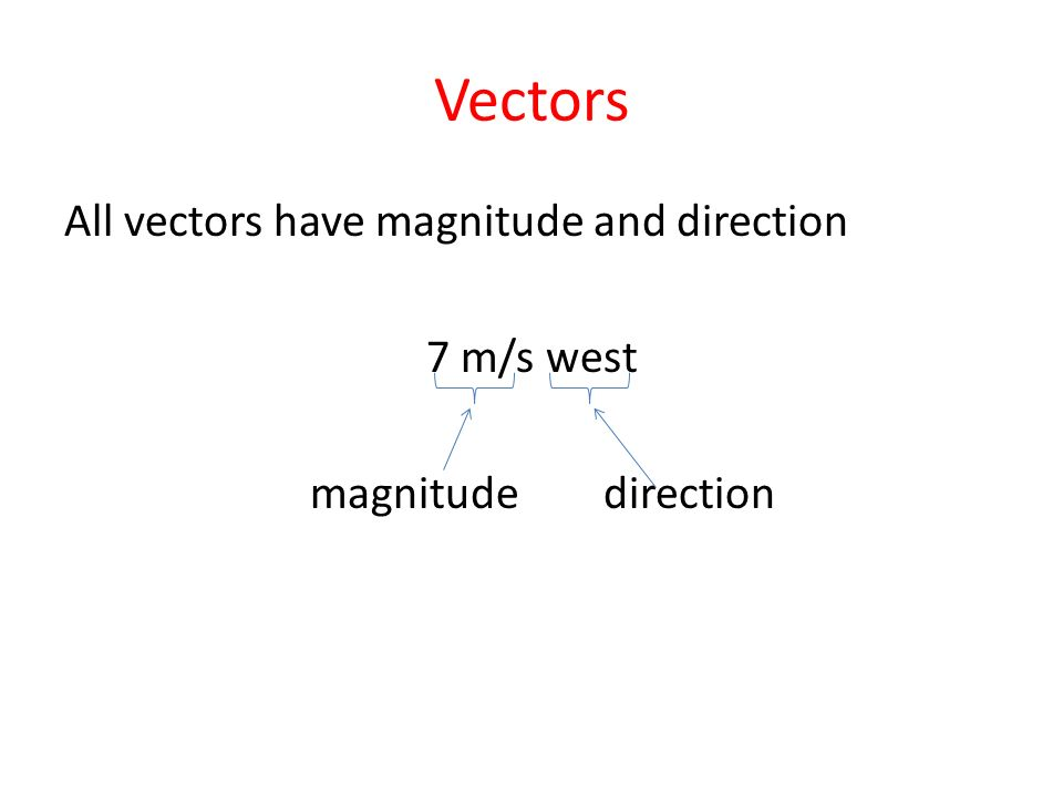 Vectors All vectors have magnitude and direction 7 m/s west