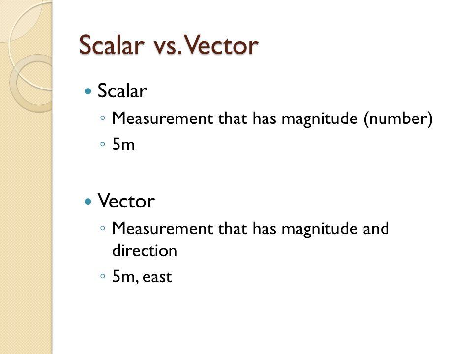 Scalar vs. Vector Scalar Vector