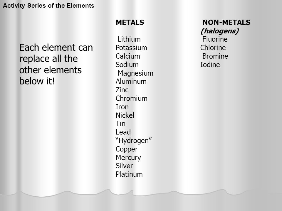 Each element can replace all the other elements below it!