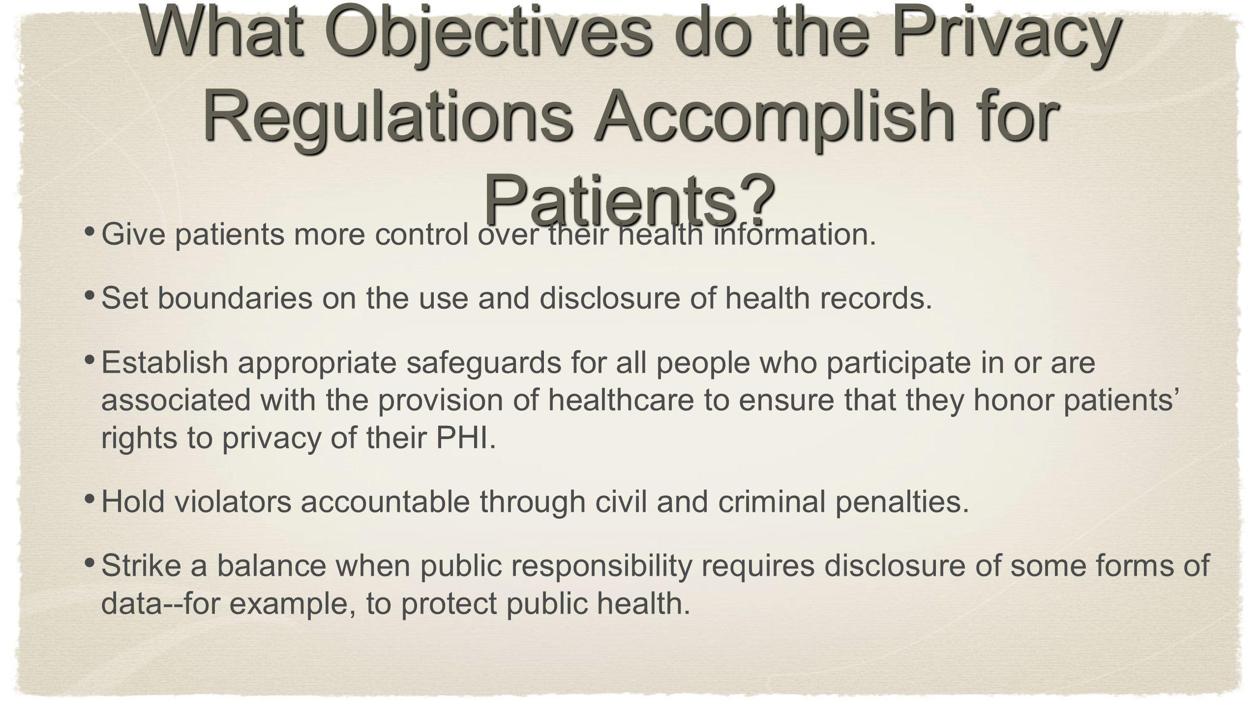 What Objectives do the Privacy Regulations Accomplish for Patients