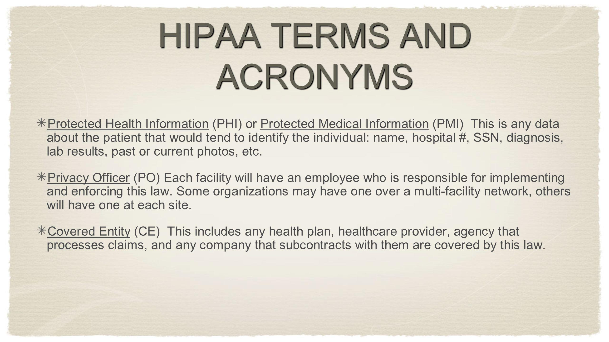 HIPAA TERMS AND ACRONYMS