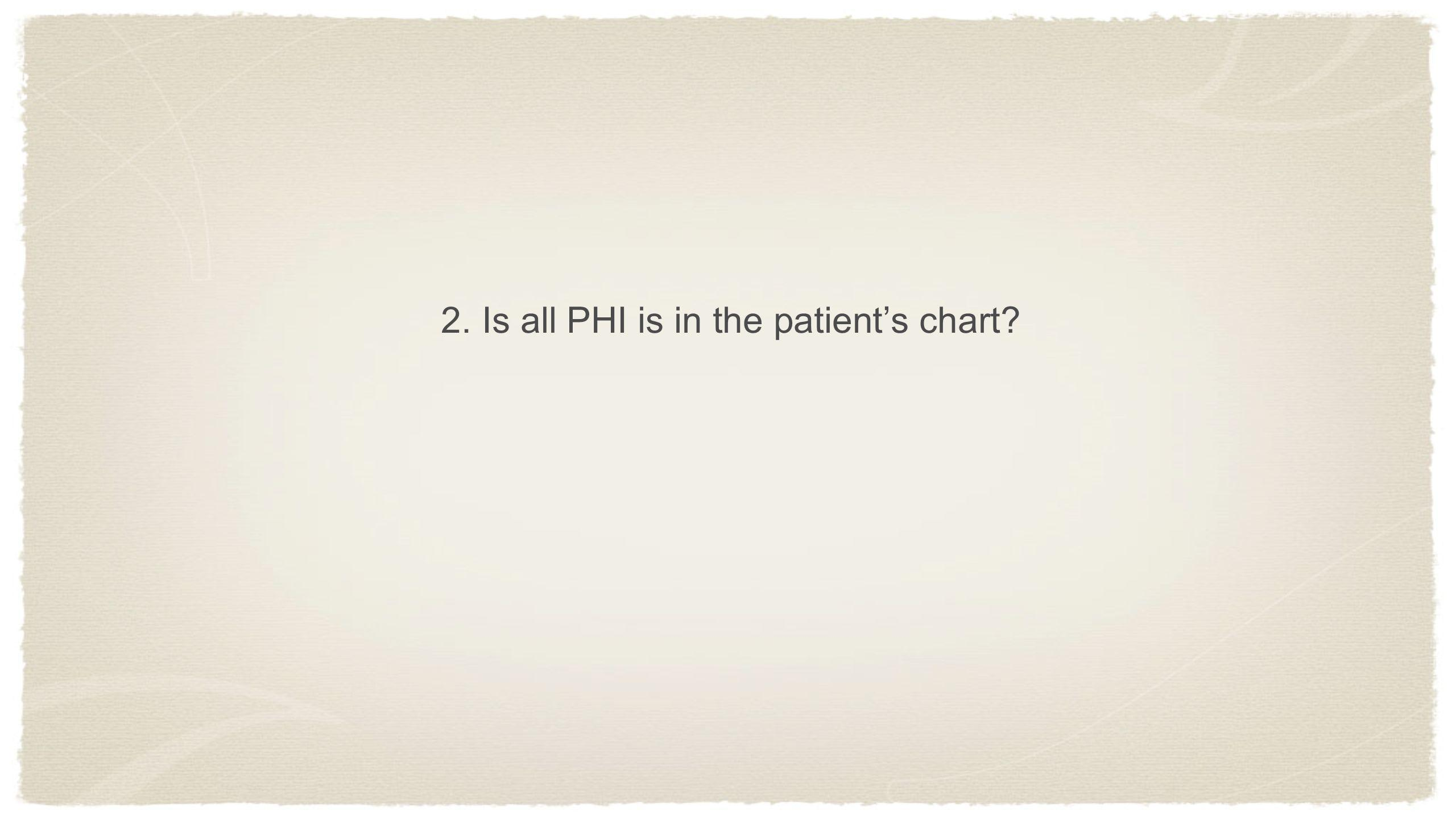 2. Is all PHI is in the patient's chart