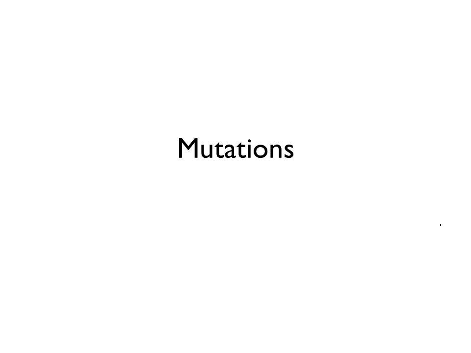 Mutations mRNA. (5 ) A – U – G – U – U – U – G – U – C – A – G – U . . . . . peptide. Met –––– Phe –––– Val –––– Ser . . . .