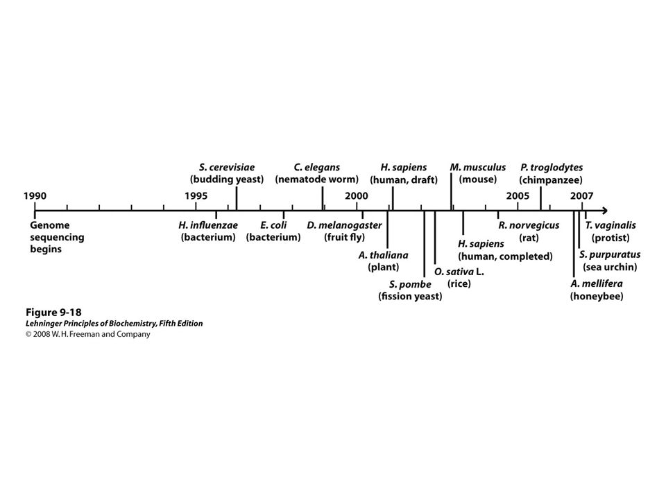 FIGURE 9-18 Genomic sequencing timeline
