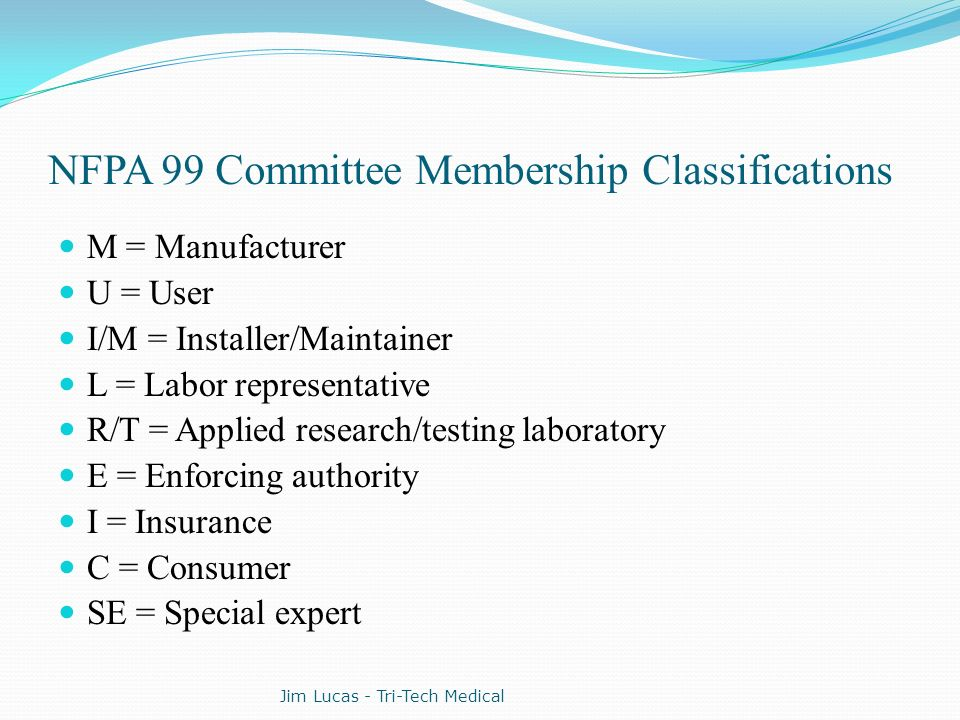 NFPA 99 Committee Membership Classifications