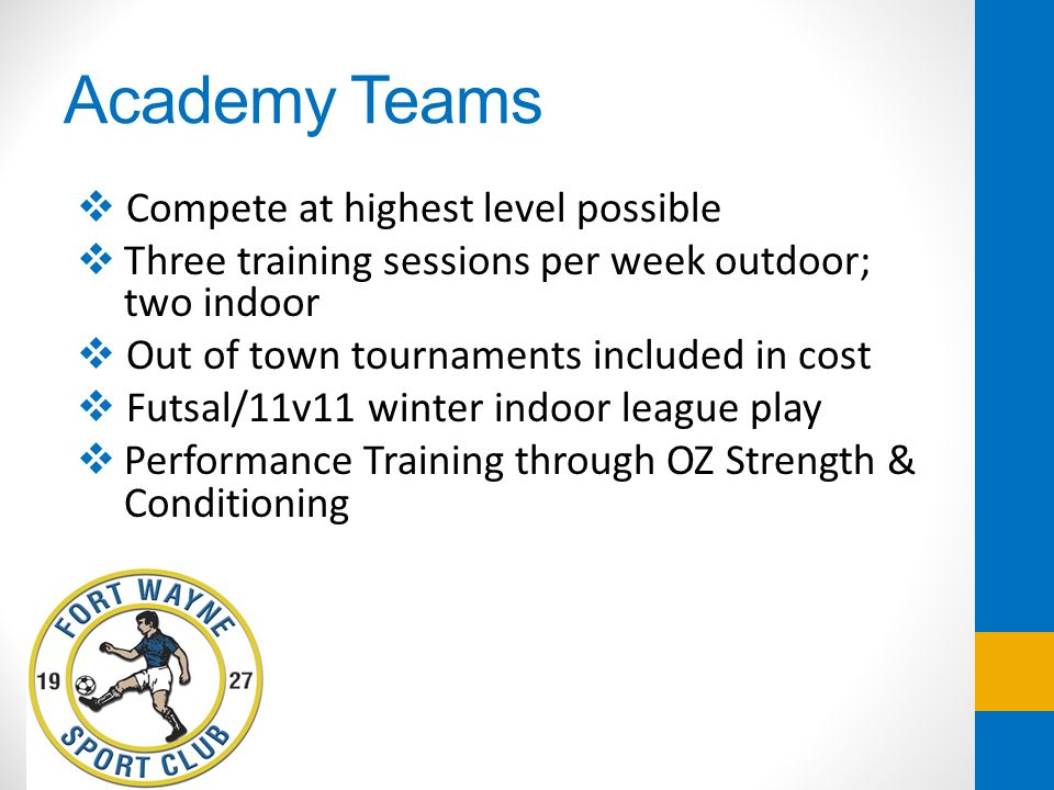 Academy Teams Compete at highest level possible