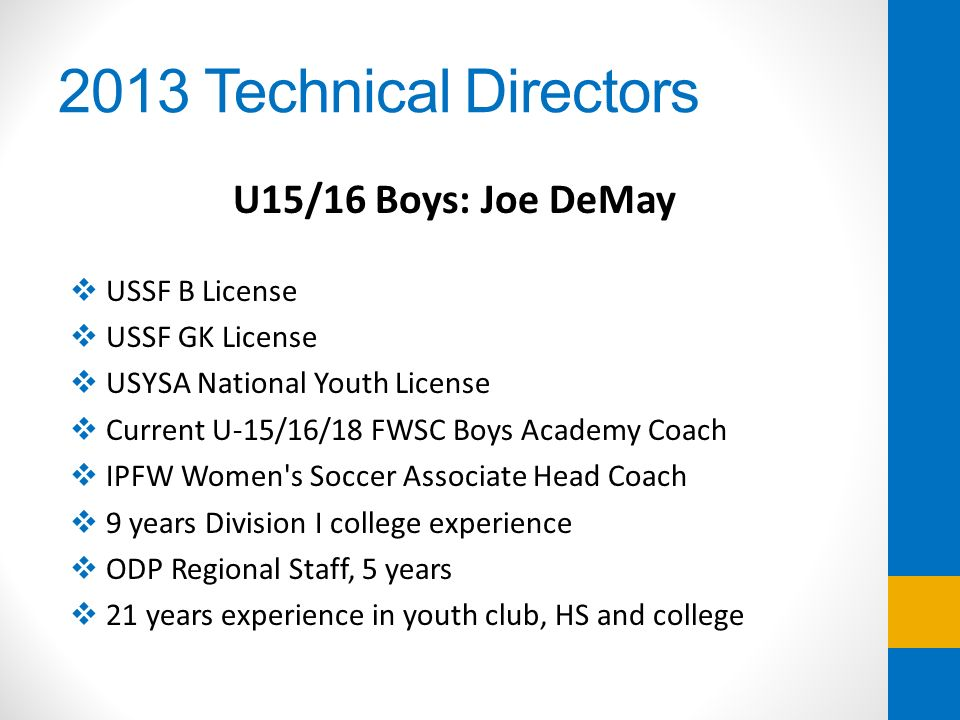 2013 Technical Directors U15/16 Boys: Joe DeMay USSF B License