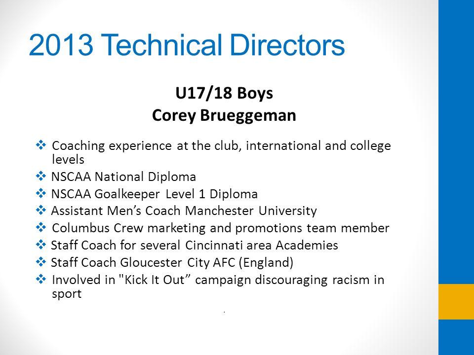2013 Technical Directors U17/18 Boys Corey Brueggeman