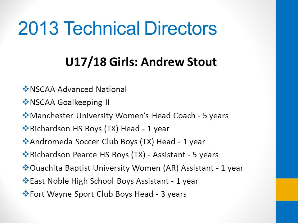 2013 Technical Directors U17/18 Girls: Andrew Stout