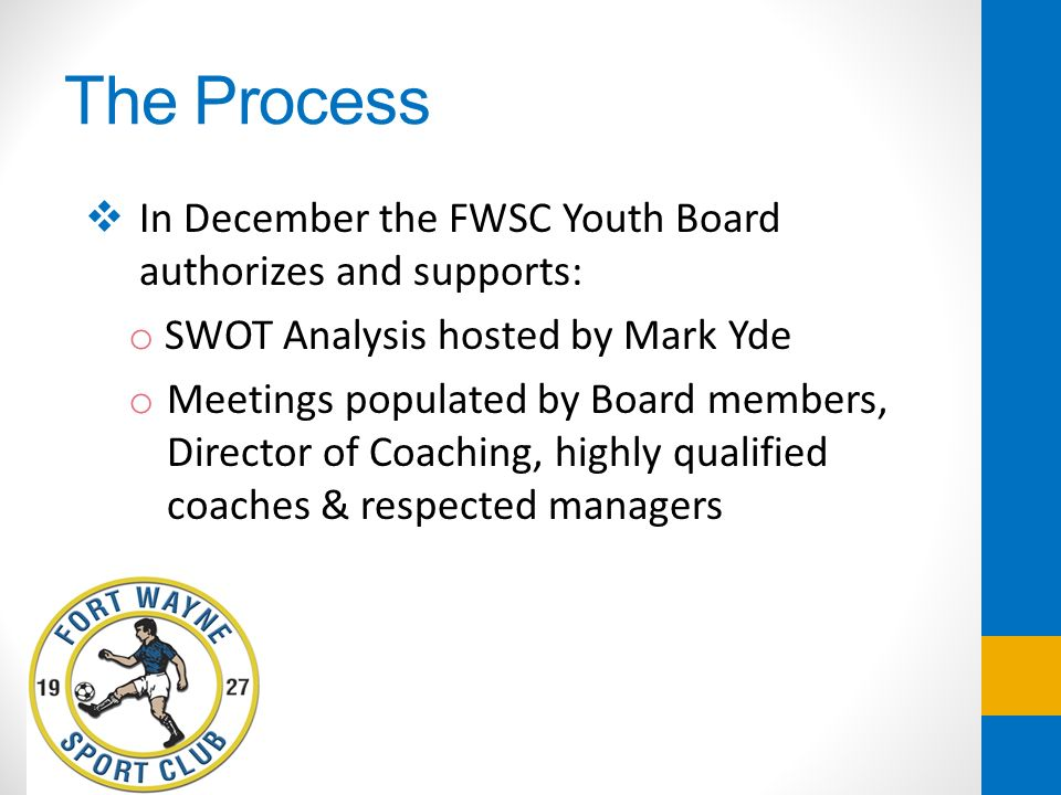 The Process In December the FWSC Youth Board authorizes and supports: