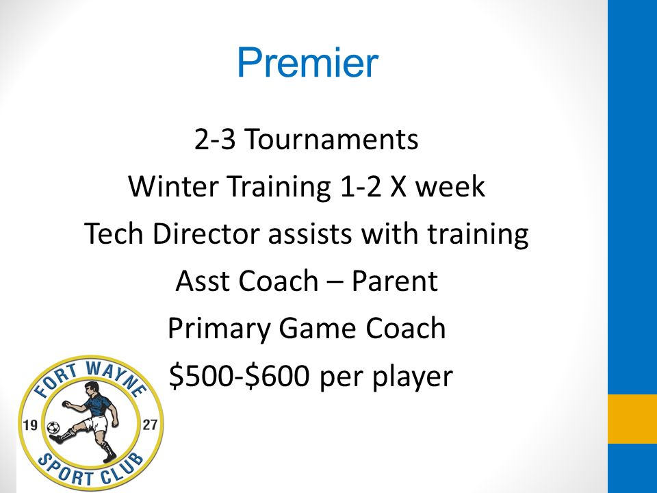 Premier 2-3 Tournaments Winter Training 1-2 X week Tech Director assists with training Asst Coach – Parent Primary Game Coach $500-$600 per player