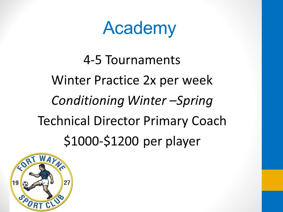 Academy 4-5 Tournaments Winter Practice 2x per week Conditioning Winter –Spring Technical Director Primary Coach $1000-$1200 per player
