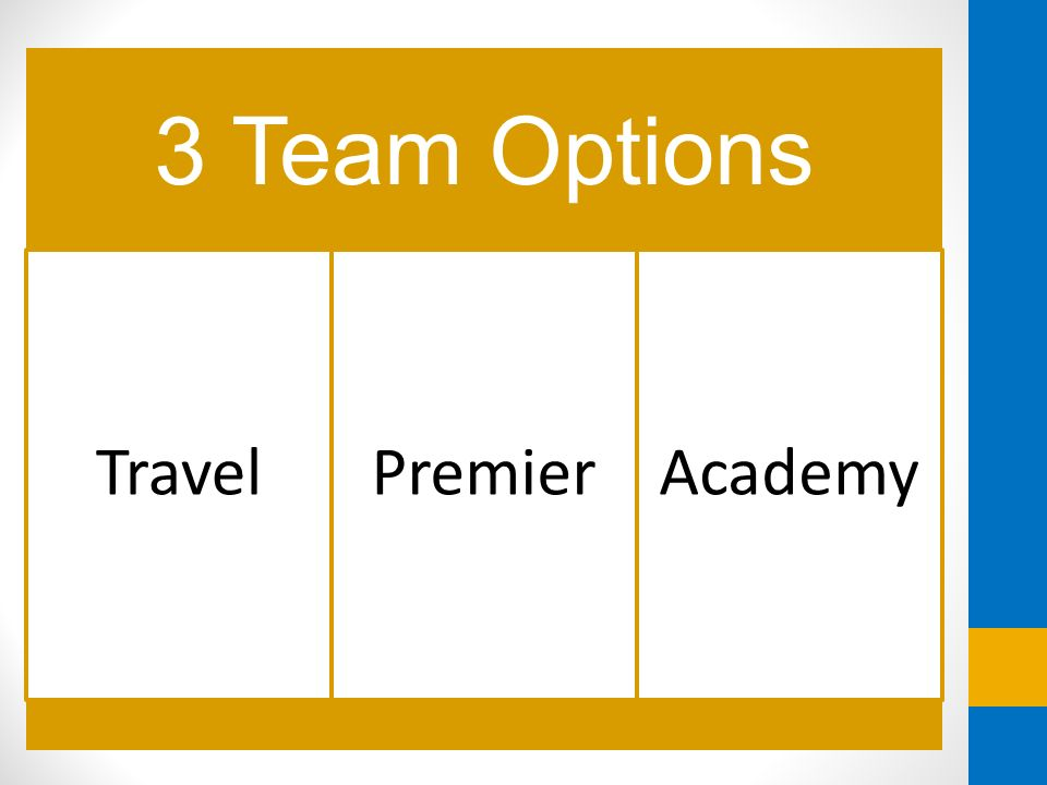 3 Team Options Travel Premier Academy