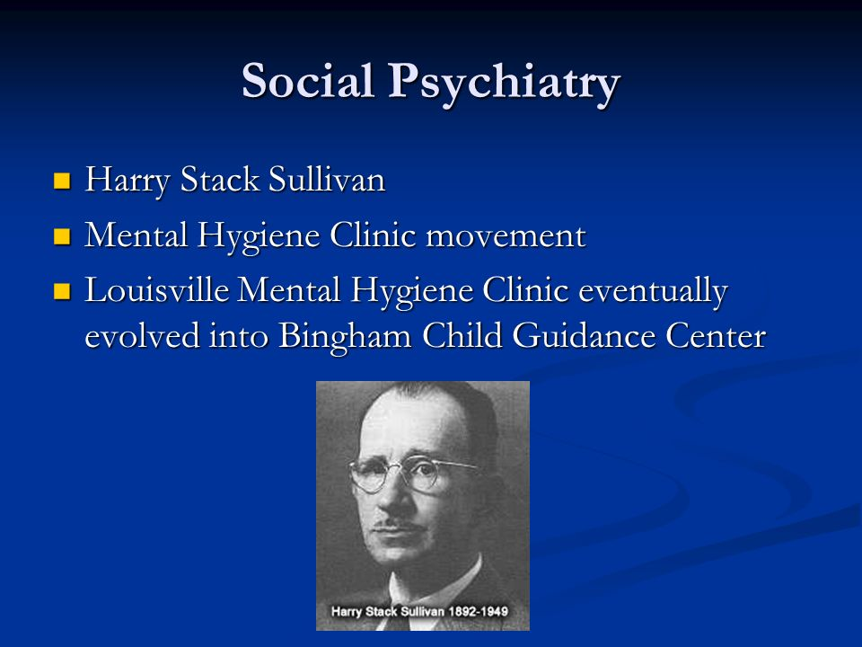 Social Psychiatry Harry Stack Sullivan Mental Hygiene Clinic movement