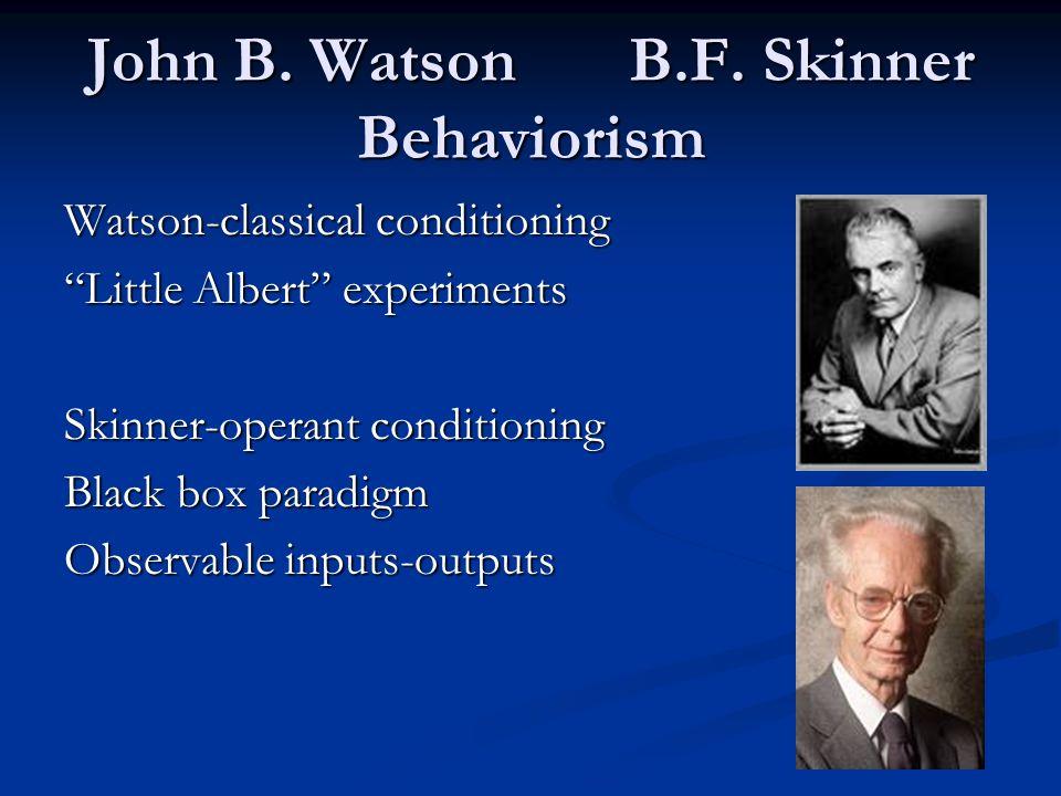 John B. Watson B.F. Skinner Behaviorism