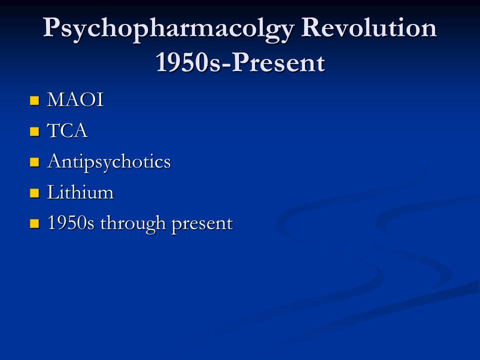 Psychopharmacolgy Revolution 1950s-Present