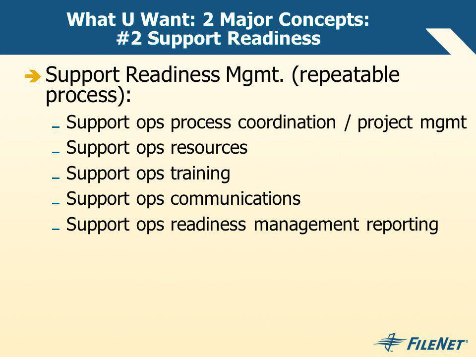 What U Want: 2 Major Concepts: #2 Support Readiness