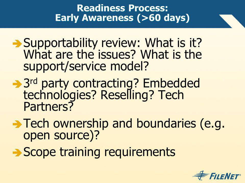 Readiness Process: Early Awareness (>60 days)