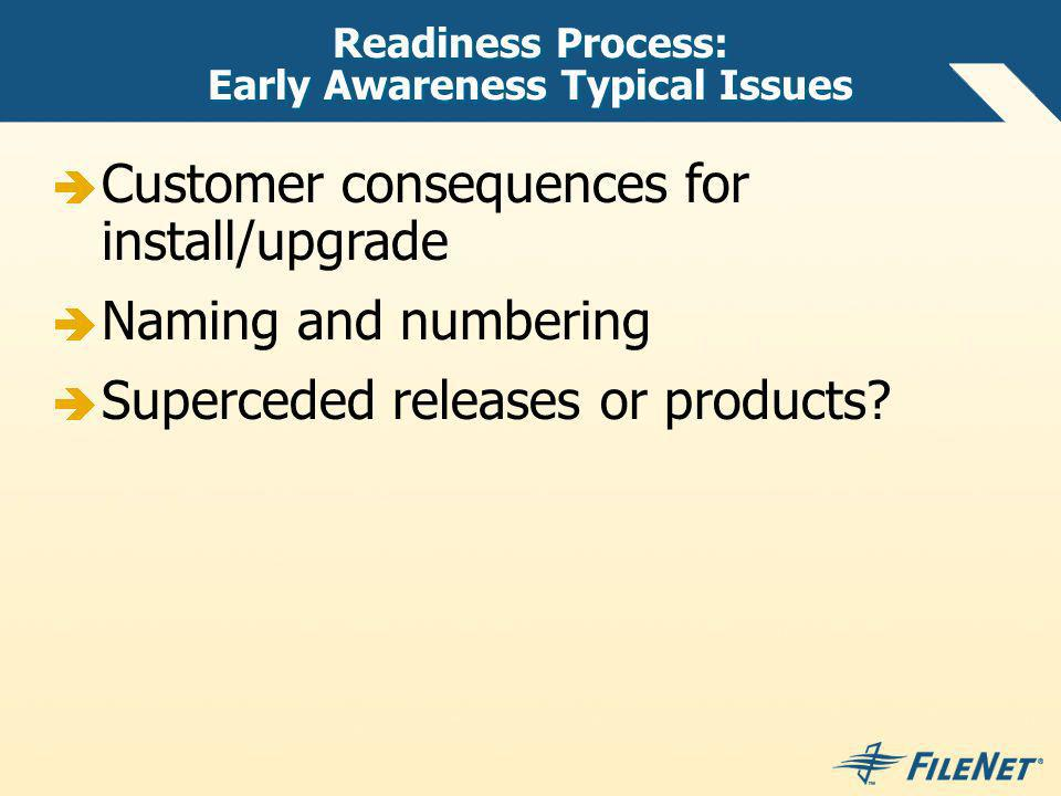 Readiness Process: Early Awareness Typical Issues