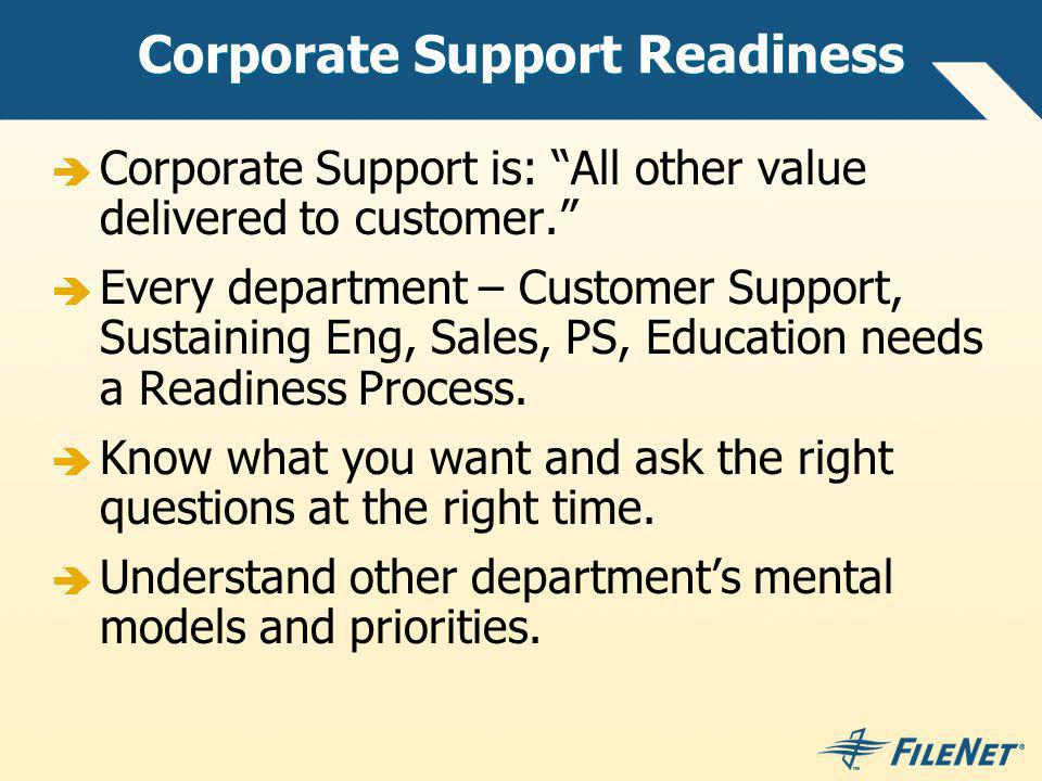 Corporate Support Readiness