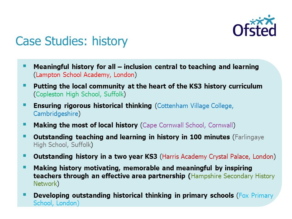 Case Studies: history Meaningful history for all – inclusion central to teaching and learning (Lampton School Academy, London)