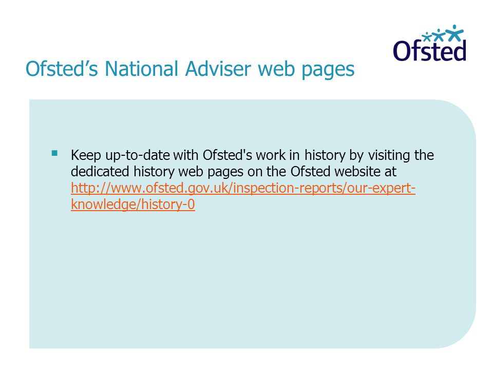 Ofsted's National Adviser web pages
