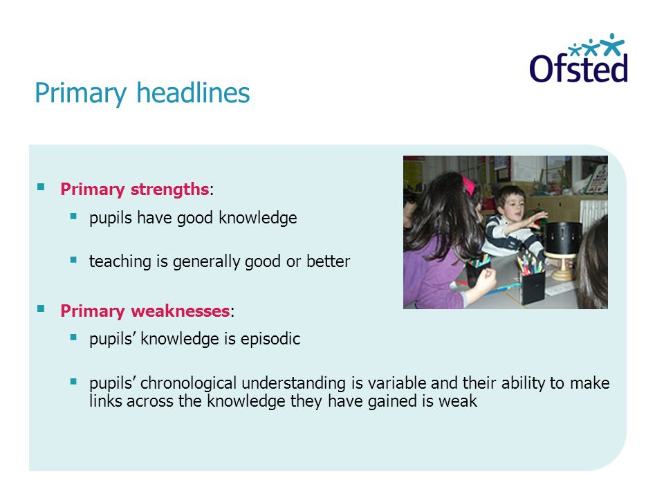 Primary headlines Primary strengths: pupils have good knowledge