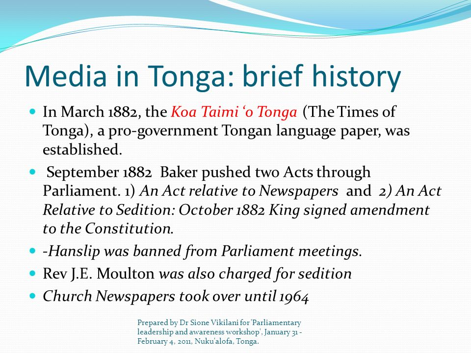 Media in Tonga: brief history