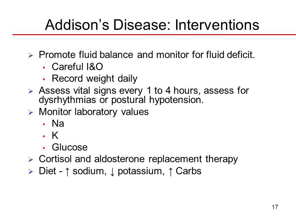 Addison's Disease: Interventions