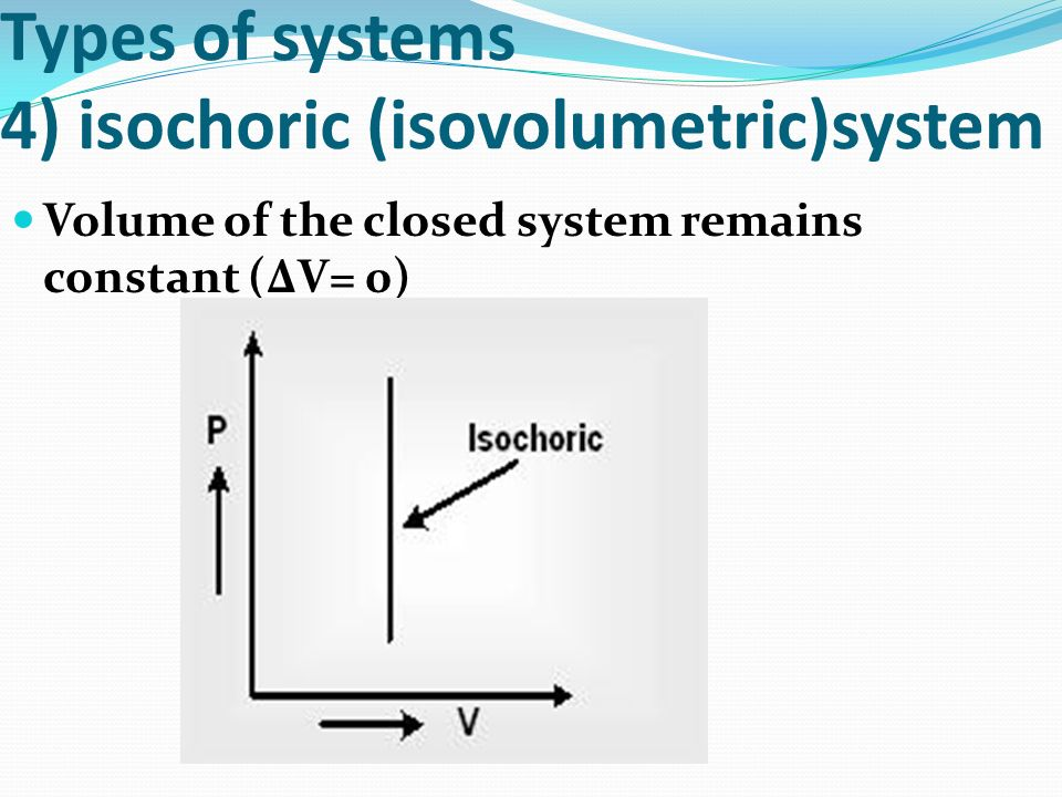 Types of systems 4) isochoric (isovolumetric)system