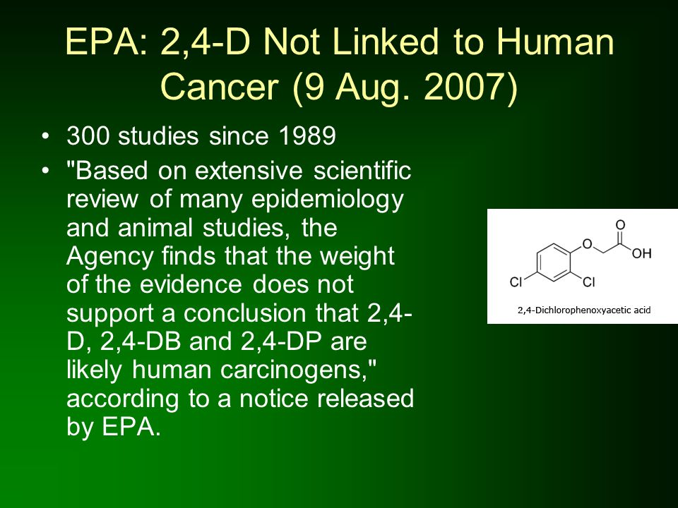 EPA: 2,4-D Not Linked to Human Cancer (9 Aug. 2007)