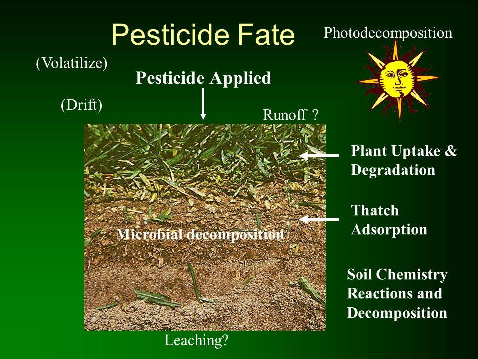Pesticide Fate Pesticide Applied Photodecomposition (Volatilize)
