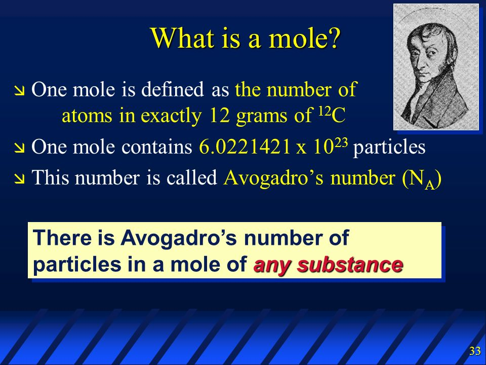 What is a mole One mole is defined as the number of atoms in exactly 12 grams of 12C. One mole contains 6.0221421 x 1023 particles.